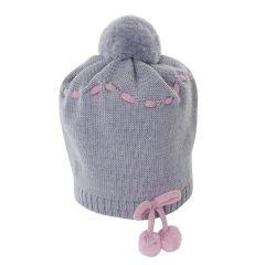 Caciula gri din lana pura pentru bebelusi