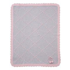 Patura moale din lana cu canafi roz