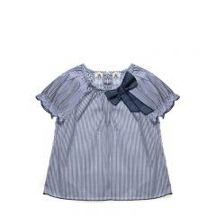 Bluza in Dungi Alb/Albastre cu Funda